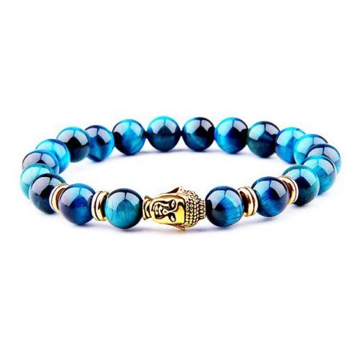 bracelet en perle de pierre naturelle bleus oeil de faucon et bouddha doré