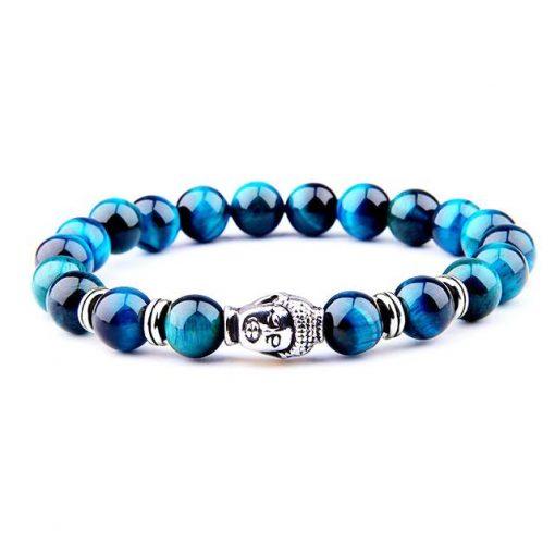 bracelet en perle de pierre naturelle bleus oeil de faucon et bouddha argenté