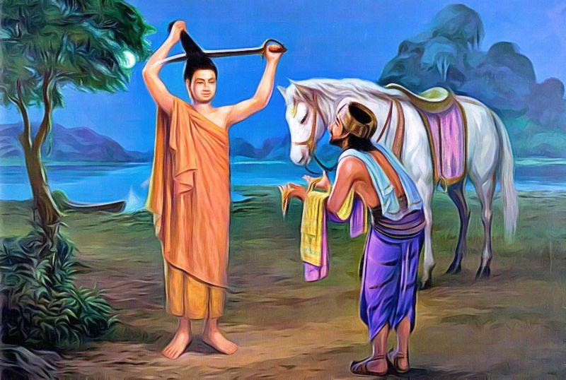siddharta cheval coupe cheveux et devient moine pour créer le bouddhisme