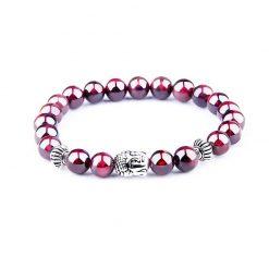 bracelet à tête de bouddha en pierre de grenat naturelle
