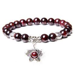 Bracelet à symbole bouddhiste fleur de lotus en perles de grenat naturel