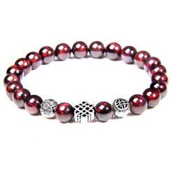 Bracelet à symbole bouddhiste nœud infini en perles de grenat naturel