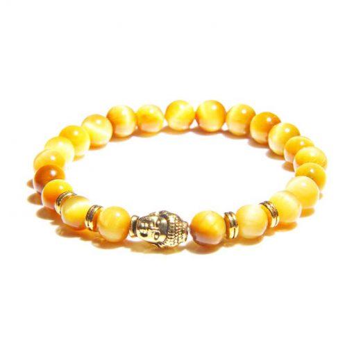 Bracelet à symbole tête de bouddha en perles de jaspe jaune naturel