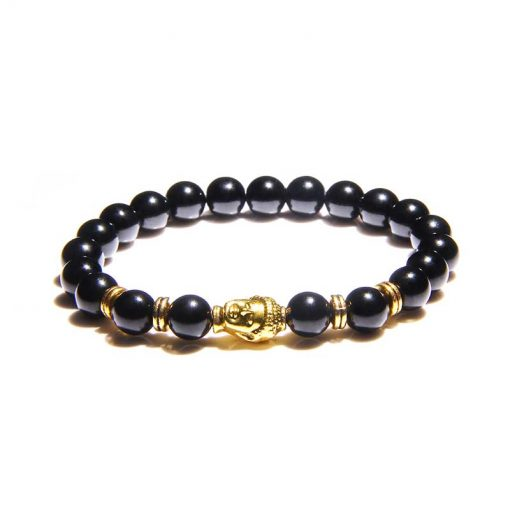 Bracelet symbole tête de bouddha doré en perles de pierre naturelle OBSIDIENNE