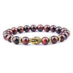 Bracelet symbole tête de bouddha en perles d'oeil de taureau naturel