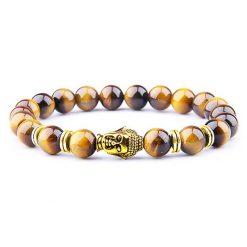 bracelet symbole tête de bouddha doré en perle d'oeil de tigre naturel