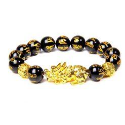 Bracelet om mani padme om avec symbole dragon pixiu en perles d'obsidienne naturelle