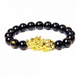 Bracelet bouddhiste avec dragon pixiu en perles obsidienne noire et mantra gravé