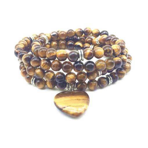 chapelet de 108 perles oeil de tigre naturelle pour la force spirituelle