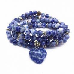 mala 108 perles en sodalite naturelle pour l'apaisement
