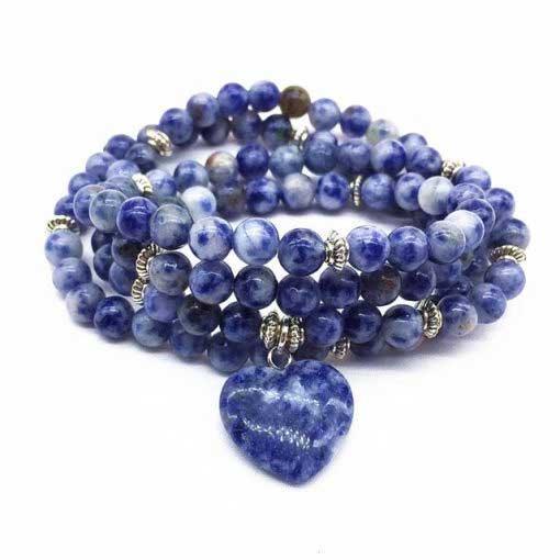 chapelet 108 perles en sodalite naturelle pour l'apaisement