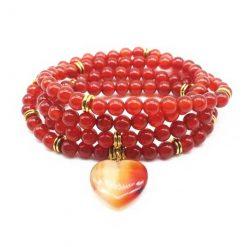 mala chapelet bouddhiste tibétain avec 108 perles en cornaline naturelle équilibre