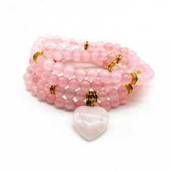 mala chapelet bouddhiste 108 perles quartz rose joie et amour