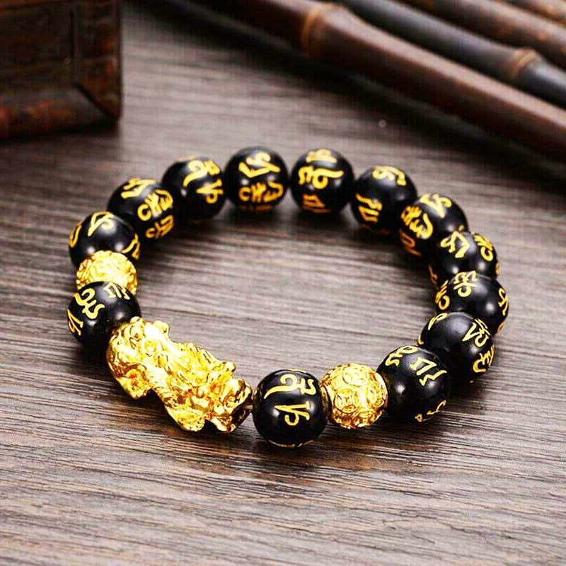 Bracelet bouddhiste en obsidienne avec inscription du mantra om mani padme hum et pixiu