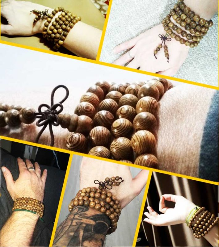 bracelet mala bois 108 perles de bois mozaique